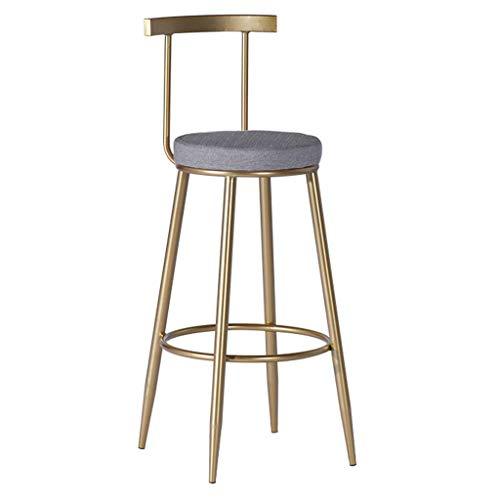 WGEMXC Stühle, Hochstühle, Barstühle, Hocker Runder Sitz Bar Hocker Küche Frühstück Eisen Kunst Rückenlehne Gegen Fußstütze Für Café Pub Freizeit,75 cm,75 cm