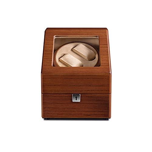 ANTLSZH Madera Marrón con Cerradura Caja De Enrollador De Reloj Almohadas De Reloj Ajustables Devanadera De Reloj Relojes Automáticos Modo De Rotación Caja De Enrolladoras
