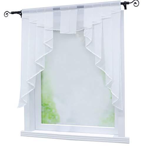 Joyswahl Kleinfenster Scheibengardine Voile Bistrogardine »Gerda« mit Tunnelzug Transparente Gardine Stores BxH 100x100cm Weiß 1er Pack