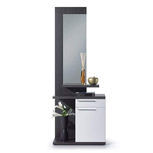 Lima Mobile da Ingresso, Mobile con 3 Ripiani E Specchio, Mobiletto in Legno, Bianco E Grigio Cenere