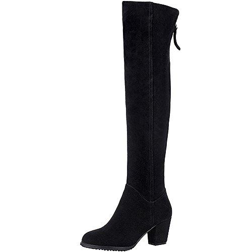 rismart Damen Kniehohe Chunky Heel Wildleder Mode Stiefel SN021106(Schwarz,EU38.5)