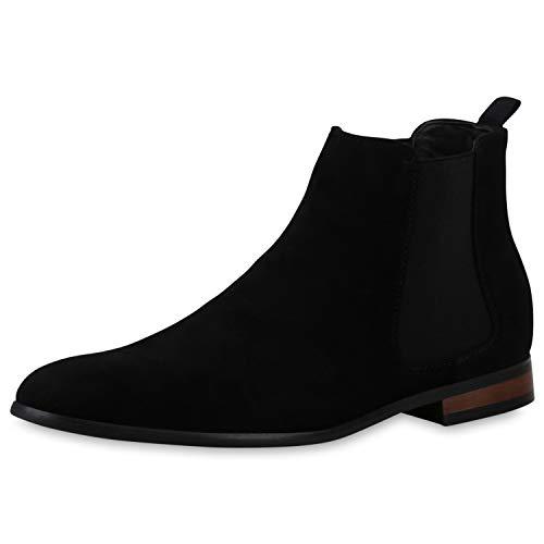 SCARPE VITA Herren Chelsea Boots Stiefel Holzoptik Blockabsatz Knöchelhohe Schuhe Wildlederoptik Schlupfschuhe Kurzschaftstiefel 196524 Schwarz Black 40