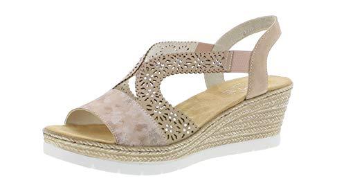 Rieker 61916 Femme Sandales compensées,Chaussures d'été,Confortable,Plat,rosa/altrosa/31,39 EU / 6 UK