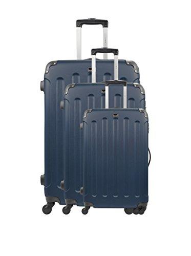 Bluestar Set de 3 trolleys rígidos Madrid Azul Marino