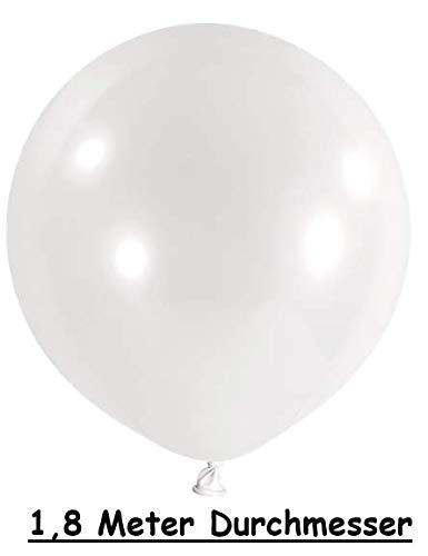 1,8 Meter XXL Luftballon Weiß Aufblasbar mit Mund XXL Ballons riesen Luftballons XXL (Weiß, 1,8 Meter)