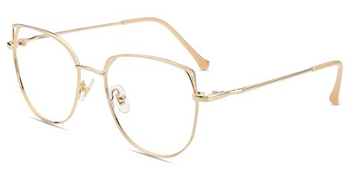 Firmoo Gafas Luz Azul para Mujer Hombre, Gafas Filtro Antifatiga Anti luz Azul y contra UV400 Ordenador Gaming PC de Gafas Montura de Metal Moda, S1014 Dorado