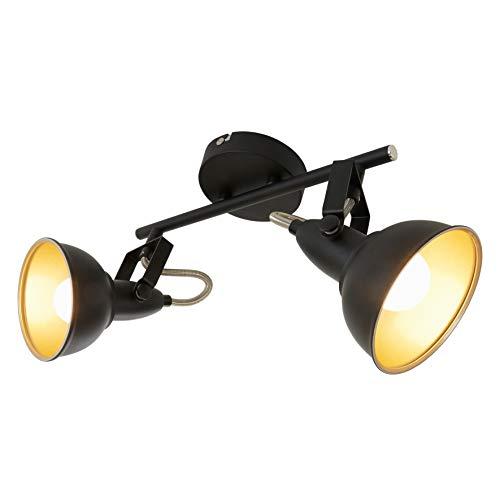 Briloner Leuchten 2049-025 Deckenleuchte, Deckenlampe mit 2 dreh-und schwenkbaren Spots im Retro/Vintage Design, Fassung: E14 max. 40 Watt, Metall Schwarz-gold 30.4 x 10 x 18.1 cm