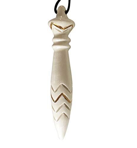 Pendule de Thoth en céramique, blanc décoré à lOR véritable.