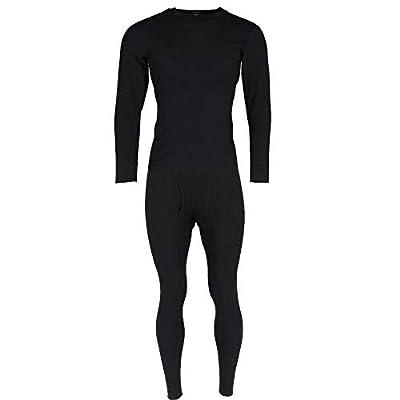 Hanes Men's Thermal Waffle Knit Long Sleeve Shirt and Pants, Large, Black