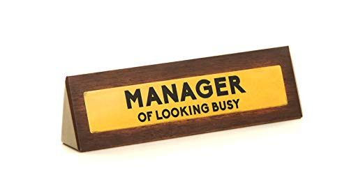 Boxer Gifts 'Manager of Looking Busy' Novelty Wooden Desk Warning Sign...