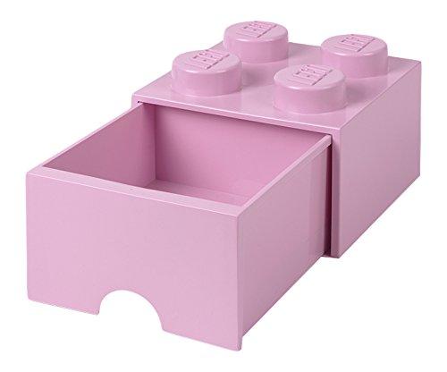 LEGO 4005 Brick 4 Knöpfe, 1 Schublade, stapelbar Aufbewahrungsbox, 4,7 l, Pink, Plastik, Legion/Light Purple, 25 x 25 x 18 cm