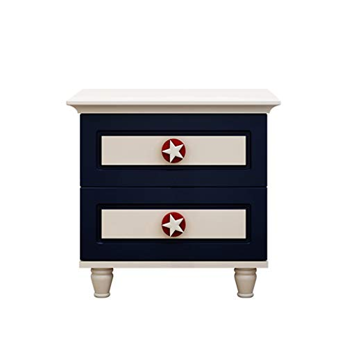 LZY Children's Bedside Table With Five-pointed Star Handle, Multi-function Storage Cabinet With Two Drawers, Bedroom Bedside Cabinet