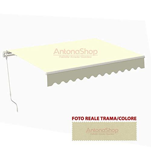 Toldo para balcón con brazos retráctiles y barra cuadrada, 300 x 200, beige, cm.300 x H.200 - beige