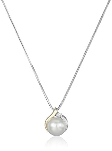 Sterling Silver and 14k Yellow Gold Freshwater Cultured Pearl Diamond Accent Pendant Necklace (8mm), 18'