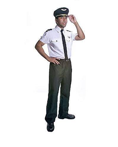 Dress Up America Costume de pilote adulte de, Noir et Blanc, XXL