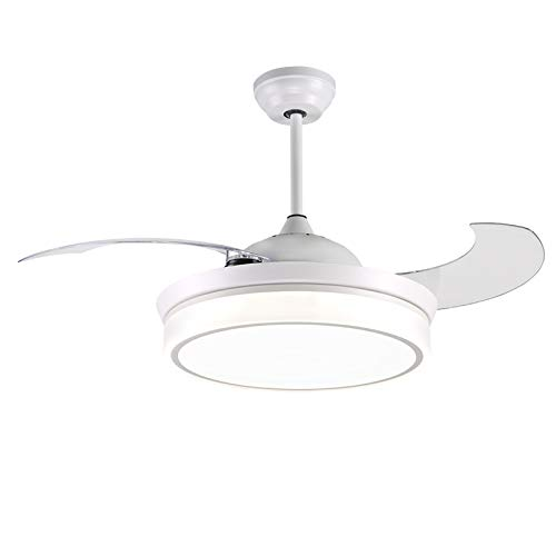 reiga 44-inch White Modern Ceiling Fan Retractable Blades with 3 Colors Change LED Lights,...
