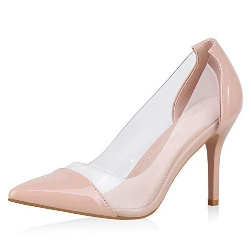 SCARPE VITA Damen Spitze Pumps Lack Stiletto High Heels Party Schuhe Elegante Abendschuhe Transparente Absatzschuhe 175867 Nude 40