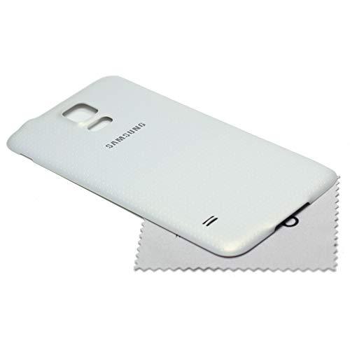 Akkudeckel für Samsung Original für Samsung Galaxy S5 G900F Back Cover Rückwand weiß mit mungoo Displayputztuch