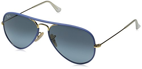Ray-Ban RB 3025Jm Gafas de sol, Azul (Gold/blue), 55 mm Unisex Adulto
