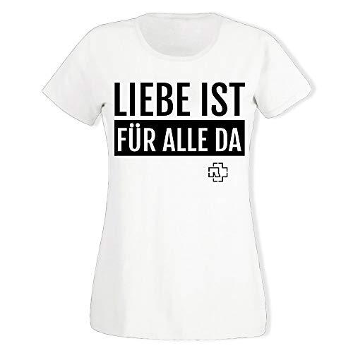 Rammstein Frauen Damen Girlie Shirt Liebe ist für alle da weiß, Offizielles Band Merchandise Fan Shirt Vintage schwarz mit Front Print (L)