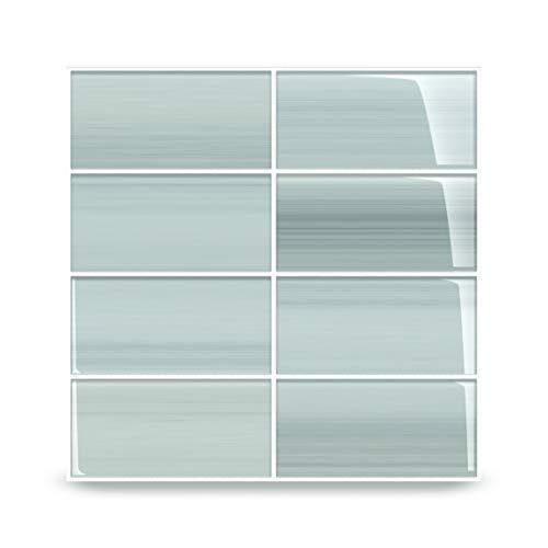 Vesper Light Blue Off White Glass Subway Tile for Kitchen Backsplash or Bathroom from Bodesi, 3x6