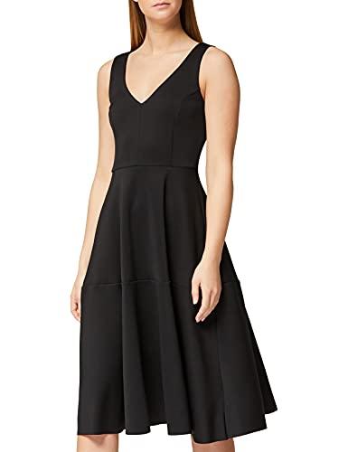 Marchio Amazon - TRUTH & FABLE Vestito Midi Elegante Donna, Nero (Black), 38, Label: XXS