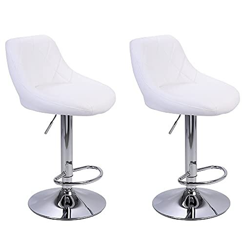 YZG LIFE Swivel Barstools Set of Two, Adjustable Counter Height Bar Stools with PU Leather Backrest and Cushion, Counter Stool for Kitchen Counter Media Room Office 330 LBS Bear Capacity, White