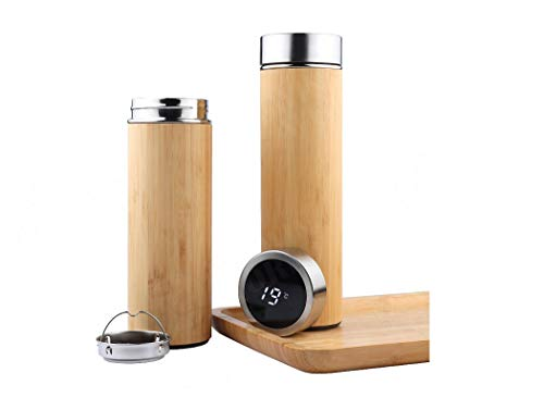 Bouteille isotherme en bamboo | Gourde isotherme | Gourde inox | Mug isotherme | Thermos alimentaire chaud | Thermos cafe isotherme | Infuseur thé bouteille | bouteille inox | Thermos isotherme