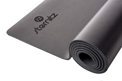 Sternitz - Esterilla de Yoga Pro - Caucho Natural - Eco-Friendly - Antideslizante - Yoga Mat Natural Rubber (183cm x 68cm x 6mm, Negro)