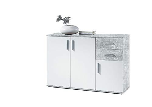 AVANTI TRENDSTORE - BEA - Comò e cassettiere, in Legno Laminato e Bianco, Disponibile in 2 Diversi Colori e 3 Diverse Dimensioni (Grigio-Bianco, 120x82x35 cm)