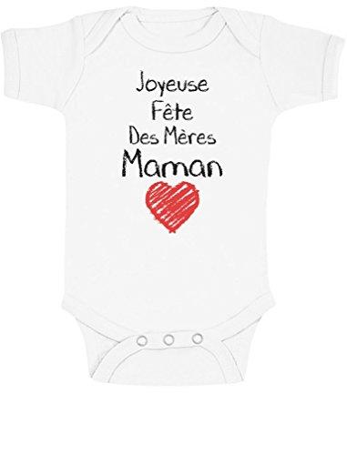 Green Turtle T-Shirts Joyeuse Fête des Mères Maman Cadeau Maman Body Bébé Manche Courte 3-6 Mois Blanc