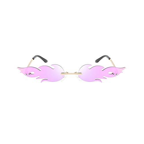NUOBESTY Occhiali da Sole Fiamma Moda per Donna Uomo Forma di Fuoco Occhiali da Vista Occhiali da Vista Viola
