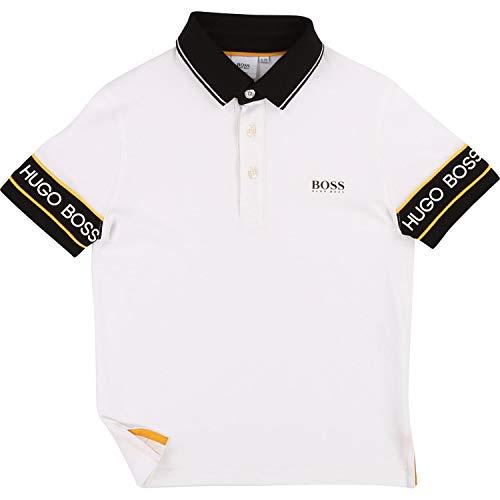 Hugo Boss Poloshirt mit vielen Logo Details weiß schwarz Groesse 12 Jahre