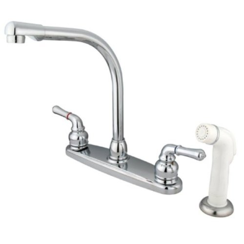 "Kingston Brass KB751 8"" High Arch Kitchen Faucet with White Sprayer, Polished Chrome, 7"" Spout Reach"