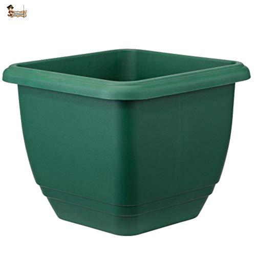 BricoLoco Maceta autorriego. Hidrojardinera Interior Exterior. Cuadrada 30 cm. Plástico Resina Verde....