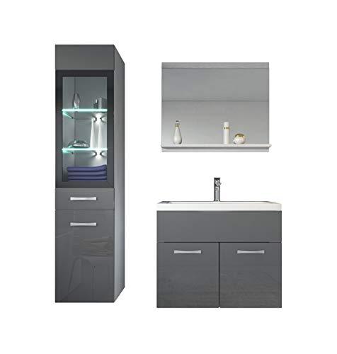 Badezimmer Badmöbel Set Rio LED 60 cm Waschbecken Hochglanz Grau Fronten - Unterschrank Hochschrank Waschtisch Möbel