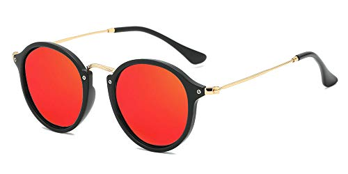 BOZEVON Retro Metall Cateye Sonnenbrillen - Vintage Rund Sonnenbrille für Damen & Herren Schwarz-Rot