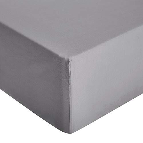 Amazon Basics – Hochwertiges Mikrofaser-Spannbettlaken, 140 x 200 x 30 cm, dunkelgrau