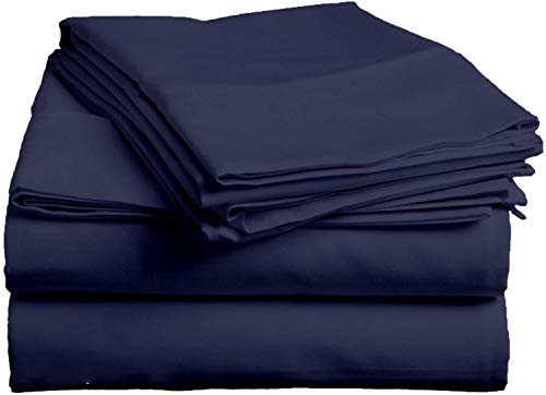 Exclusive Sheets - 4 Piece Sheet Set 16' (40cm Deep Corners) - Long Staple 1000 Thread Counts 100% Egyptian Cotton (Euro Small Single Size, Navy Blue Solid)
