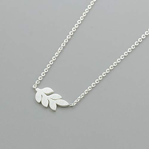 LINLIN Gold Silber Lorbeerblatt Anhänger Halskette FrauenSchlüsselbein Kette Pflanze Edelstahl