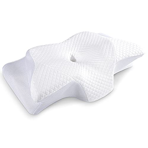 HOMCA Memory Foam Neck Pillows for Sleeping, 2 in 1 Contoured Cervical Support Pillow for Neck Shoulder Pain Relief, Ergonomic Orthopedic Pillows for Side Back Stomach Sleepers