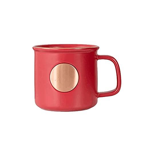 ZANZAN Taza de cerámica de la Taza de café Moderna para el Cacao del Cacao Pares de la Vendimia Taza-Fácil de Limpiar y Mantener-para Tomar café/cumpleaños/fiesta-4Colors (Color : Red)