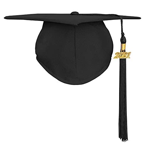Happy Secret Unisex Matte Graduation Cap with Graduation Tassel Year Charm 2021 Black