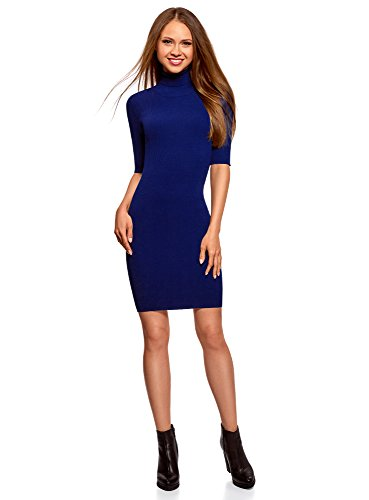 oodji Ultra Damen Strickkleid mit Tropfenausschnitt am Rücken, Blau, DE 42 / EU 44 / XL