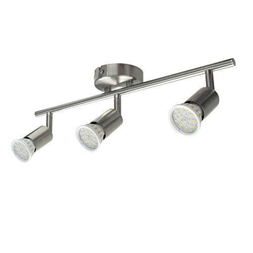 Abishion LED Deckenleuchte Schwenkbar inkl. 3xGU10 Dimmbar LED Lampen,5.5W 600LM, Warmweiß 3000K,Deckenstrahler 3 Flammig Schwenkbar für Küche, Wohnzimmer, Schlafzimmer.
