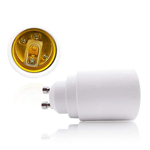 VARICART Base Transformador de Lámpara GU10 a E27/E26, Adaptador de Casquillo de Bombilla, Máxima Potencia de Vatios 500W Enchufe Resistente al Calor, No Inflamable Hasta 220 Grados (Pack de 2)