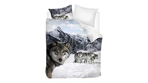 Snoozing Wolf - Juego de funda nórdica de 200 x 200/220 cm y 2 fundas de almohada de 60 x 70 cm, multicolor