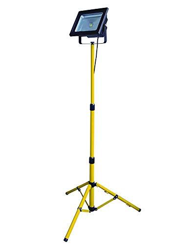 Velamp Trípode telescópico para obras de construcción. Aluminio, para 1 foco LED, halógeno Altura máxima: 165cm. Base estable y robusta, Amarillo