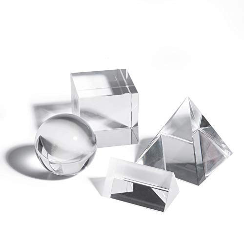 Gonioa 4 Pack K9 Optical Crystal Photography Prism Set, Including 50mm Crystal Cube, 50mm Triangular Prism, 50mm Crystal Ball, 60mm Optical Pyramid for Science Physics and Teaching Photo Photography