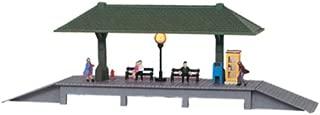 Model Power HO Scale Built-Up Station Platform, Lighted w/Figures